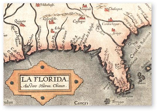 Georgia And Florida Map.1584 Map Of Spanish La Florida