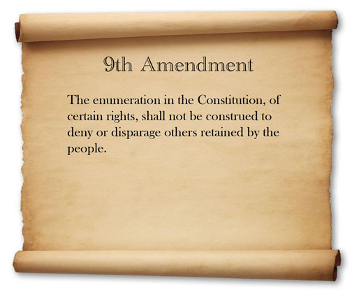 9th amendment Although there is much dispute among constitutional scholars about the meaning and legal effect of the ninth amendment, there is consensus about its origin.