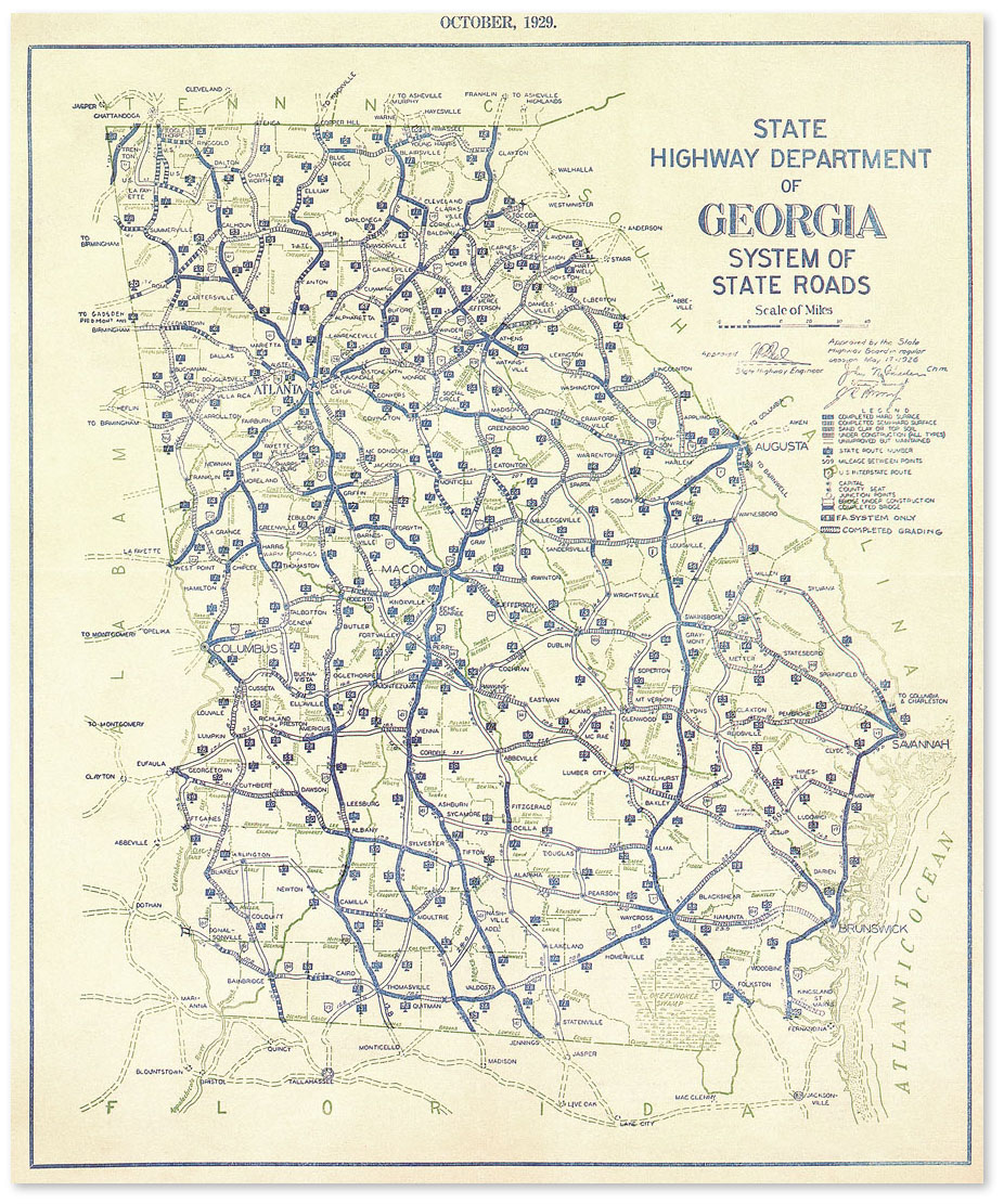 Georgia 1929 Highway Map