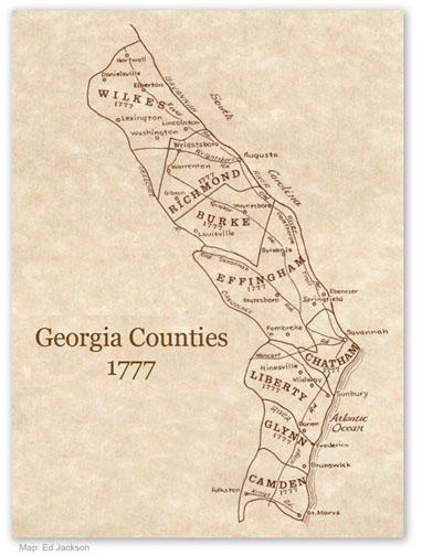Georgia Counties 1777 Map