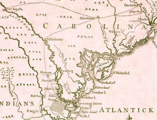 Georgia-South Carolina Map 1741 on lexington georgia map, satilla river georgia map, scottsdale georgia map, abbeville georgia map, bibb county georgia map, antebellum georgia map, show counties in georgia map, ogeechee river georgia map, asheville georgia map, united states map, dover georgia map, ga rome georgia map, surrency georgia map, florida georgia map, lakemont georgia map, irwinton georgia map, northwestern georgia map, goose creek georgia map, north carolina map, evans county georgia map,