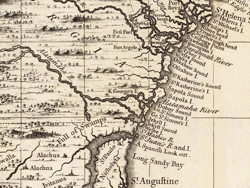 Popple Map Of The Southeast - Georgia map 1733