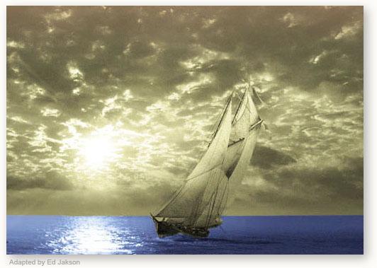 Ship Sailing Towards Edge of Earth