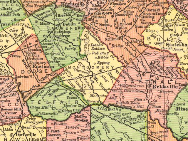 map of ga with cities with Montgomery1895map on Old Florida Towns On The St Johns River in addition Dooly2001map together with Ga Alapaha in addition Bibb1864map additionally Heard1899map.
